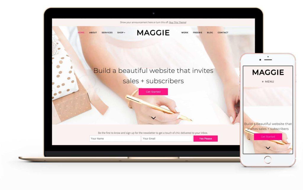 Top Wedding WordPress Theme to create a Flower Shop - Maggie