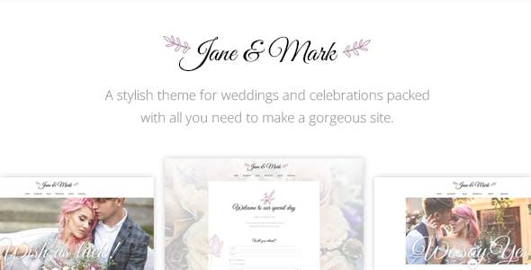 Top Wedding WordPress Theme Wedding Invitation - Jane & Mark