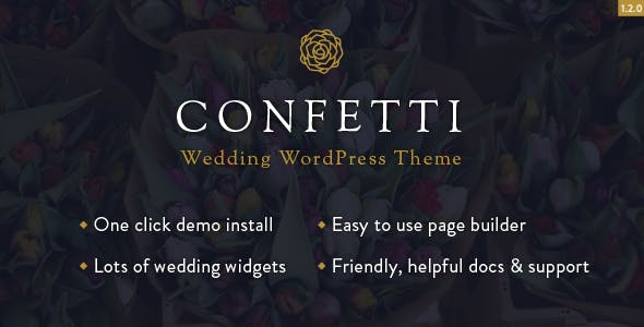 Top Wedding WordPress Theme for Save the Date 2020- Confetti