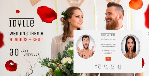 Top Wedding WordPress Theme for Save the Date 2020- Idylle