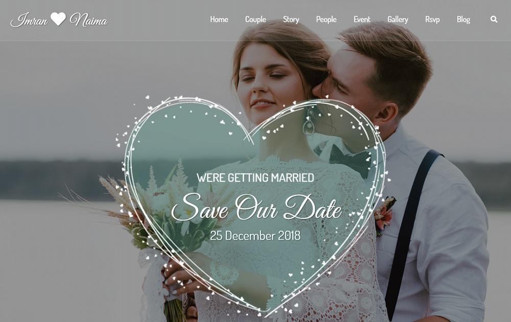Wedding RSVP website WordPress theme - Lavelo