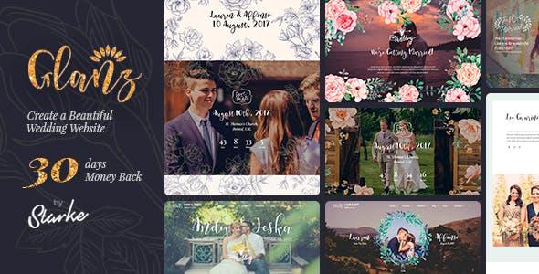 Wedding RSVP website WordPress theme - Glanz