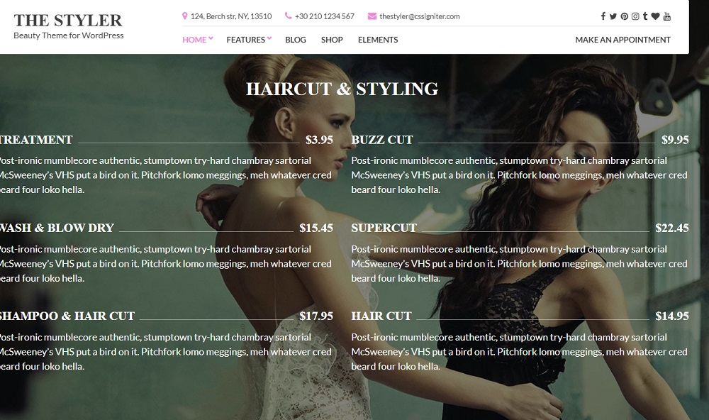Wedding hair and makeup WordPress Theme - The Styler